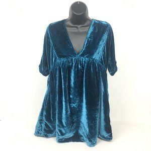 New With Tag Free People Women Velvet Teal/Blue XS